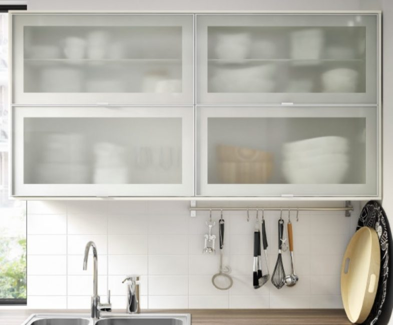Metod Wall Cabinet (White - Frosted Glass) - Furniture ...
