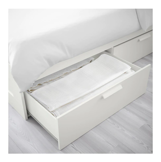 super popular 17804 9963e Brimnes Bed Frame with 4 Storage Drawers (Queen)