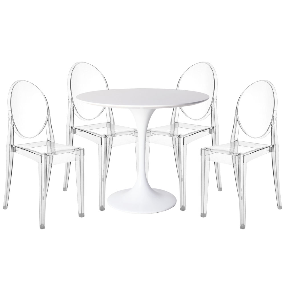 Furniture Source Philippines Tulip Dining Set With 4 Ghost Chairs
