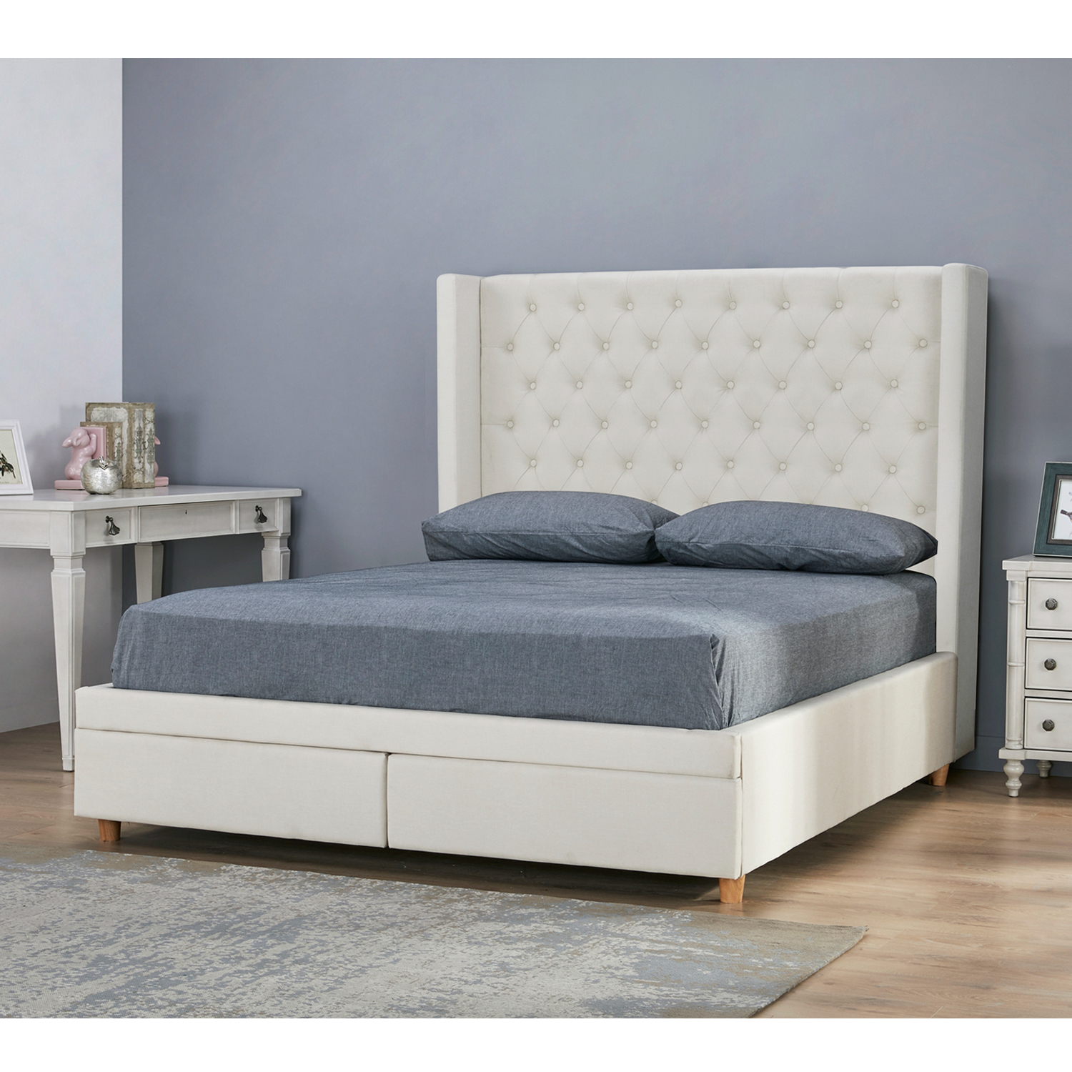 Furniture Source Philippines Appenzel Tufted Bed Frame Queen With 2 Drawers Off White