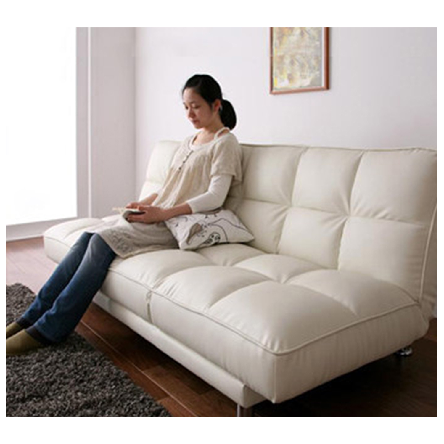 Furniture Source Philippines | Visby 3-in-1 Sofabed (White Faux Leather)
